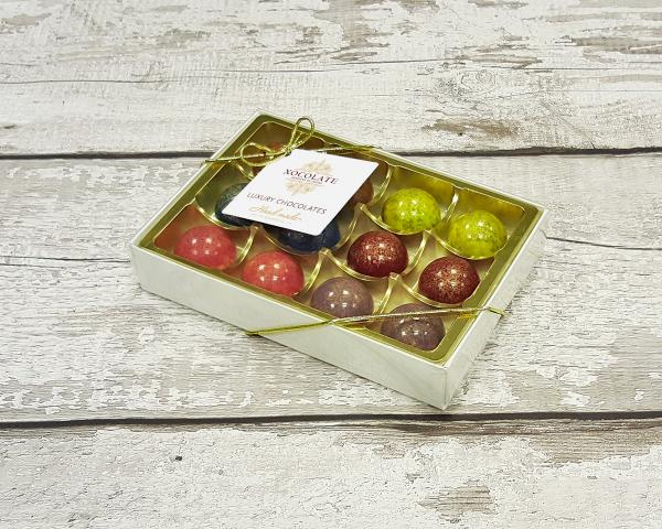 The Ambassadors Collection box of 12 chocolates by Xocolate