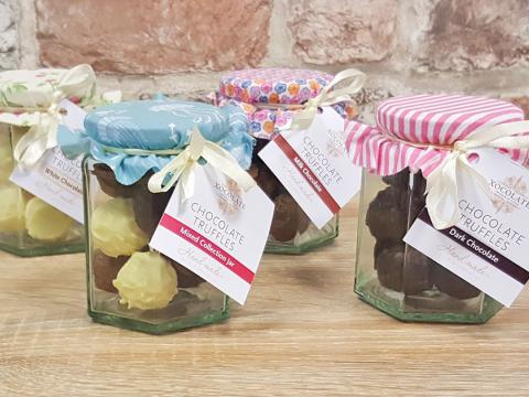 Jar of Hand-made truffles by Xocolate